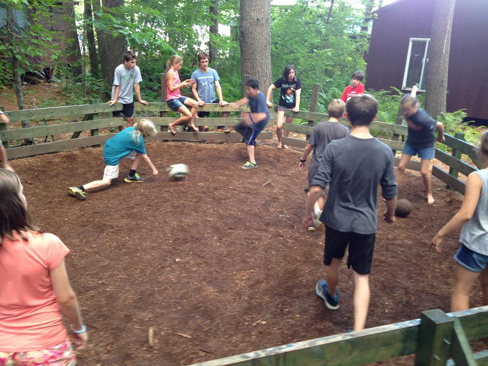 campers in the middle of a gagaball game
