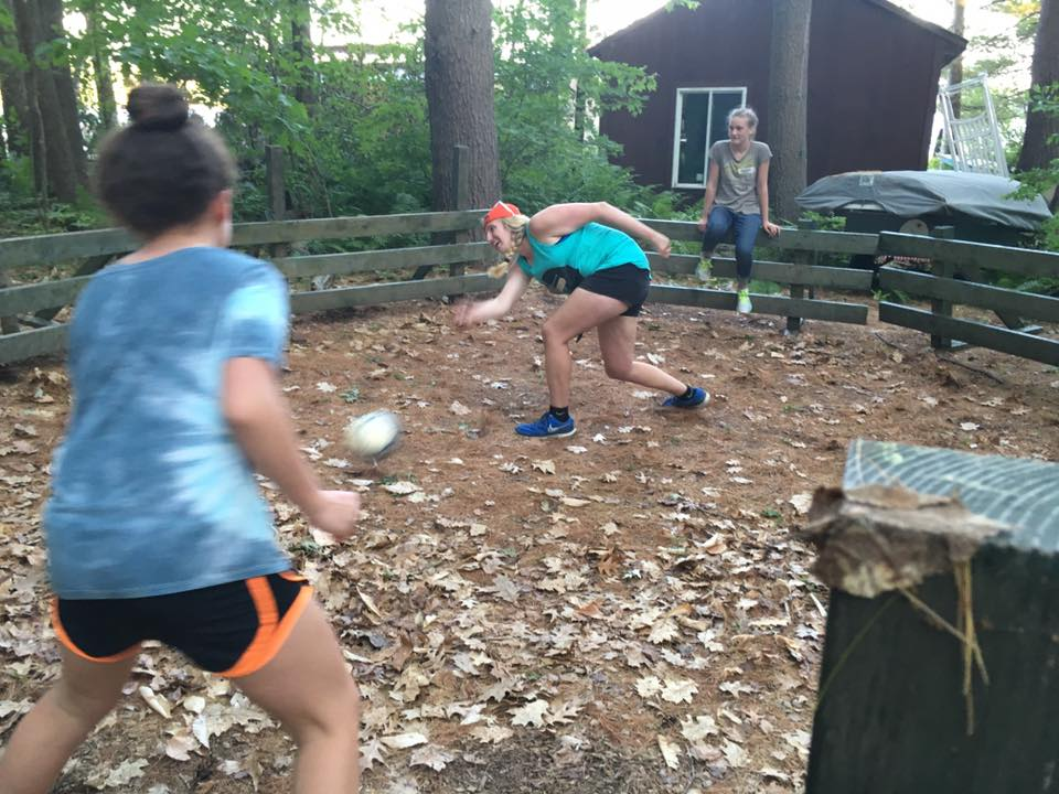 two players face-off in the gaga ball court