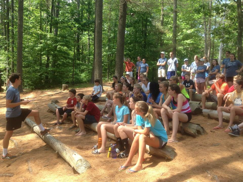 Campers meeting in the amphitheater